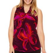 Worthington® Sleeveless Drape-Neck Blouse - Plus