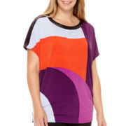 Worthington® Short-Sleeve Oversized Tunic Top - Plus