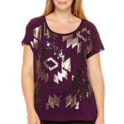 Worthington® Short-Sleeve Sequin Blouse - Plus