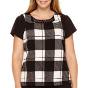 Worthington® Short-Sleeve Textured Blouse - Plus