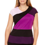 Worthington® Cap-Sleeve Colorblock Peplum Top - Plus