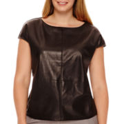 Worthington® Cap-Sleeve Faux-Leather Front Top - Plus