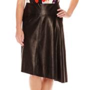 Worthington® Faux-Leather Asymmetrical Skirt - Plus