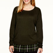 a.n.a® Long-Sleeve Plaid Layered Sweater - Plus