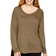 a.n.a® Long-Sleeve Fleck T-Shirt - Plus