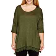 a.n.a® 3/4-Sleeve Crochet-Hem Knit Top - Plus