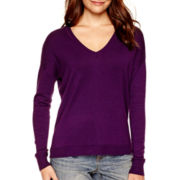 a.n.a® Long-Sleeve V-Neck High-Low Sweater - Tall