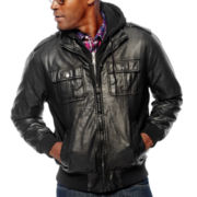 IZOD® Faux-Leather Jacket with Fleece Hood
