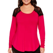 Bisou Bisou® Long-Sleeve Lace-Shoulder Shirred Top - Plus