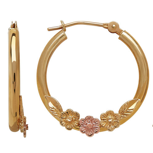 LIMITED QUANTITIES! 10K Two-Tone Gold Daisy Tube Hoop Earrings