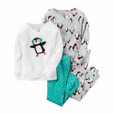 jcpenney.com | Carter's Girls 4-pc. Long Sleeve Kids Pajama Set-Baby 0-24 M