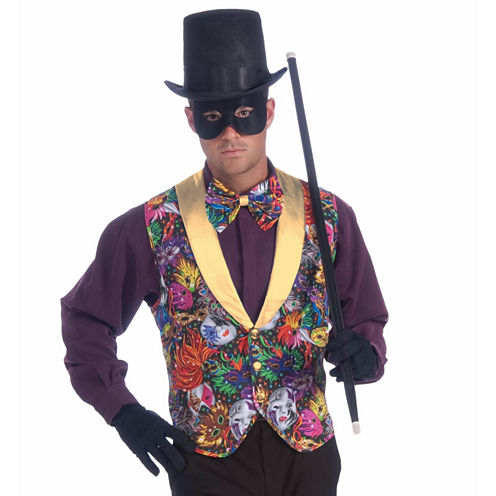 Mardi Gras Vest Mens 2-pc. Dress Up Accessory