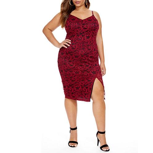 Fashion To Figure I Dare You Lace Slip Dress - Plus