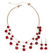 Mixit™ Antiqued Gold-Tone Red Bead Earring and Necklace Set