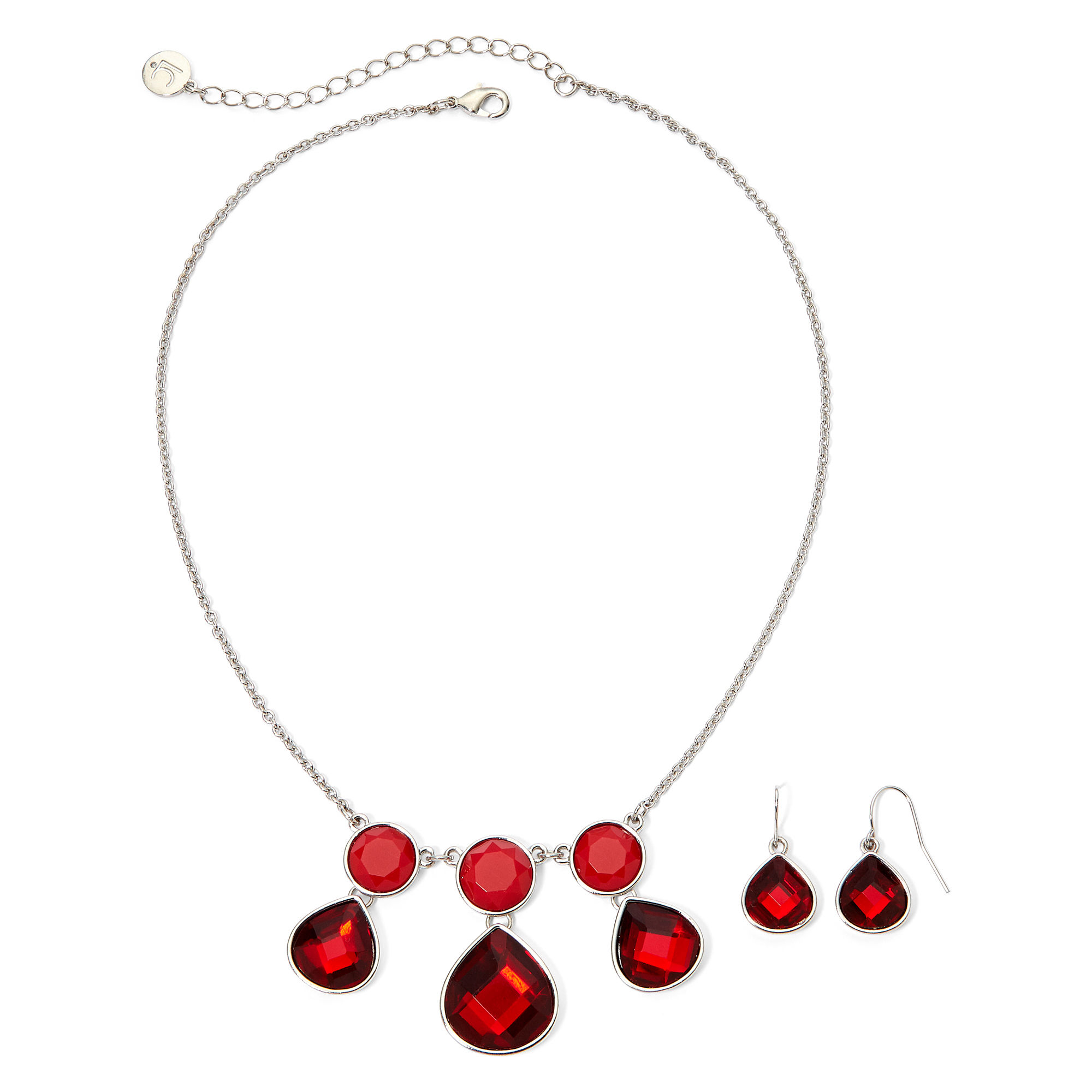 Liz Claiborne Silver-Tone Red Earring and Necklace Set