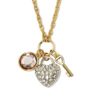 Monet® Crystal Gold-Tone Heart and Key Pendant Necklace