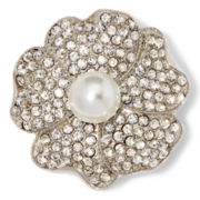 Monet® Clear and White Stone Silver-Tone Flower Pin