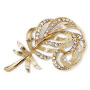 Monet® Crystal Gold-Tone Leaf Pin