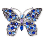 Monet® Blue and Purple Stone Silver-Tone Butterfly Pin