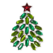 Monet® Green Stone Silver-Tone Christmas Tree Pin
