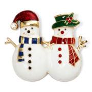 Monet® Multicolor Gold-Tone Snowman Pin