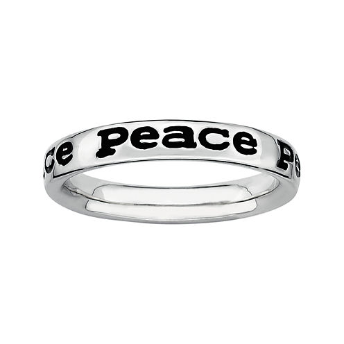 """Personally Stackable Sterling Silver """"Peace"""" Stackable Ring"""