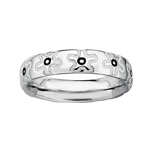 Personally Stackable Sterling Silver Flower Stackable Ring