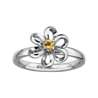 jcpenney.com | Personally Stackable Lab-Created Citrine Sterling Silver Flower Stackable Ring