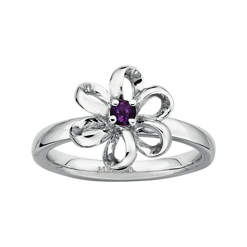 Personally Stackable Lab-Created Amethyst Sterling Silver Flower Stackable Ring