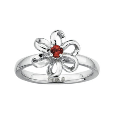 jcpenney.com | Personally Stackable Lab-Created Garnet Sterling Silver Flower Stackable Ring