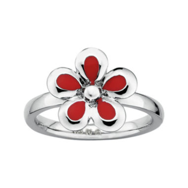 jcpenney.com | Personally Stackable Sterling Silver Red Flower Stackable Ring