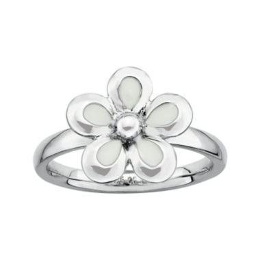 jcpenney.com | Personally Stackable Sterling Silver White Flower Stackable Ring