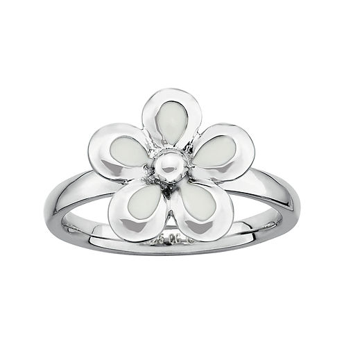 Personally Stackable Sterling Silver White Flower Stackable Ring