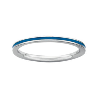 jcpenney.com | Personally Stackable Sterling Silver Blue Enamel Stackable Ring