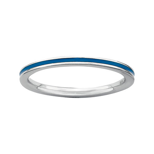 Personally Stackable Sterling Silver Blue Enamel Stackable Ring