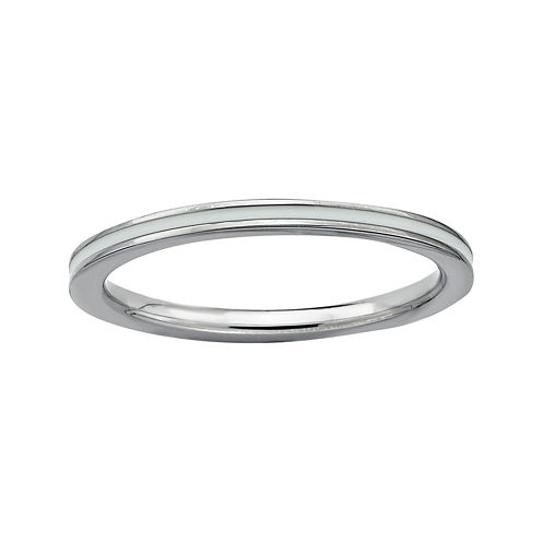 Personally Stackable Sterling Silver White Enamel Ring
