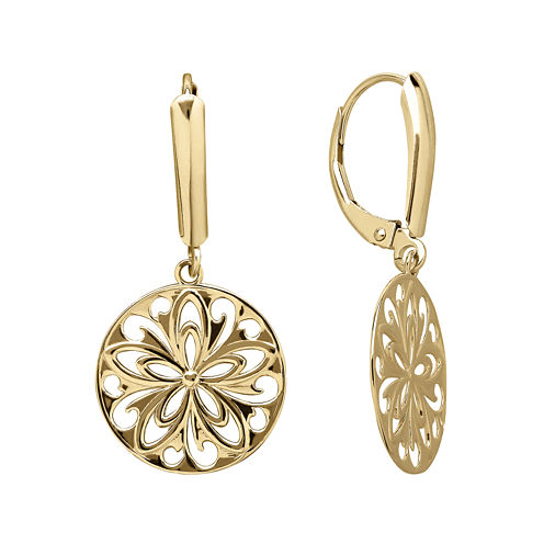 Infinite Gold™ 14K Yellow Gold Cutout Disc Earrings