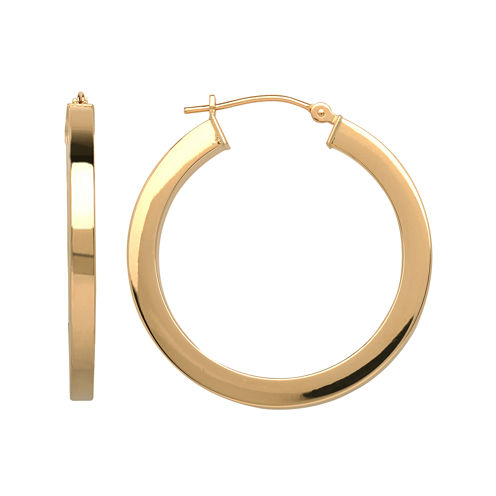 Infinite Gold™ 14K Yellow Gold Square-Edge Hoop Earrings