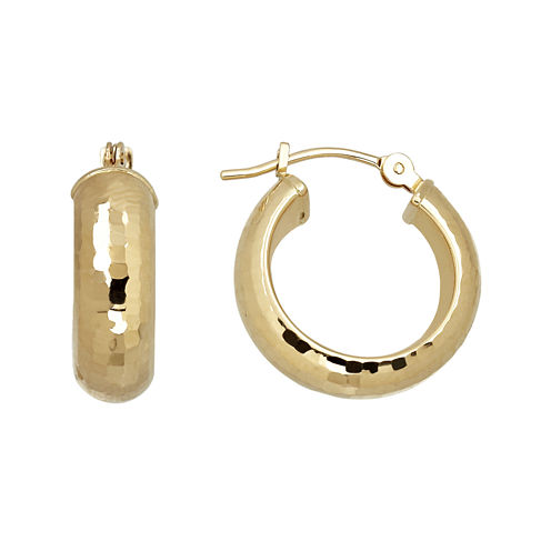 Infinite Gold™ 14K Yellow Gold Textured Hoop Earrings