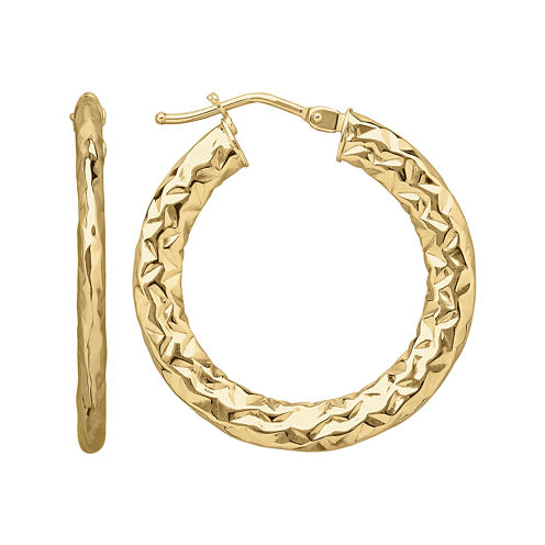 Made in Italy 14K Yellow Gold Faceted Hoop Earrings