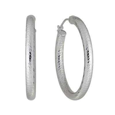 Infinite Gold 14k White Diamond Cut Hoop Earrings