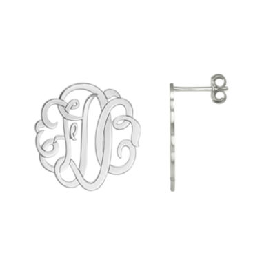 jcpenney.com | Personalized Sterling Silver Monogram Earrings