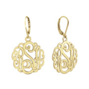 14K Gold Over Sterling Silver Monogram Drop Earrings