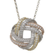 DiamonArt® Cubic Zirconia Gold Over Silver Tri-Color Knot Pendant Necklace