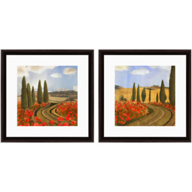 jcpenney.com | PTM Images™ Set of 2 Red Flower Road Wall Art