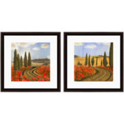 PTM Images™ Set of 2 Red Flower Road Wall Art