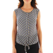 Worthington® Sleeveless Tie-Waist Blouse - Petite
