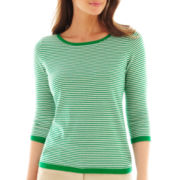 Liz Claiborne 3/4-Sleeve Striped Sweater