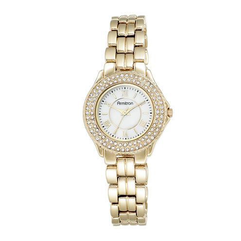 Armitron® Womens Crystal-Accent Gold-Tone Bracelet Watch 75/5332MPGP