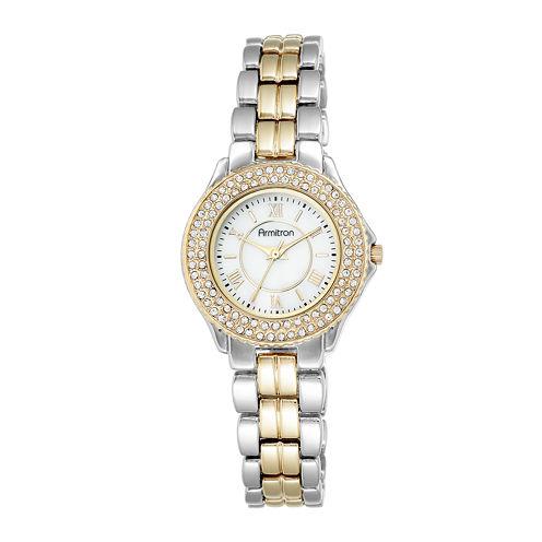 Armitron® Womens Crystal-Accent Two-Tone Bracelet Watch 75/5332MPTT